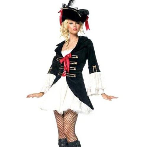 Free shipping Ladies Pirate Fancy Dress Costume + Hat UK