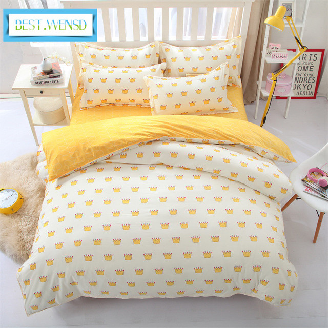Best Wensd Simple Korean Style Luxury Bedding Set King Size Cotton Bedclothes Duvet Cover Sets