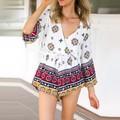 Sexy Summer Women Deep V-neck Loose Flower Print Causal Short Jumpsuit Playsuit