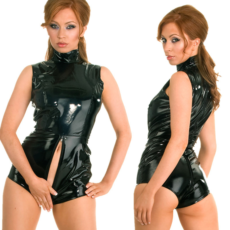 2018 Black <font><b>Latex</b></font> Wet Look Bodycon Catsuit <font><b>Sexy</b></font> Faux Leather Bodysuit <font><b>Erotic</b></font> <font><b>Lingerie</b></font> PVC Jumpsuit Cosplay Clubwear Dance Costume image