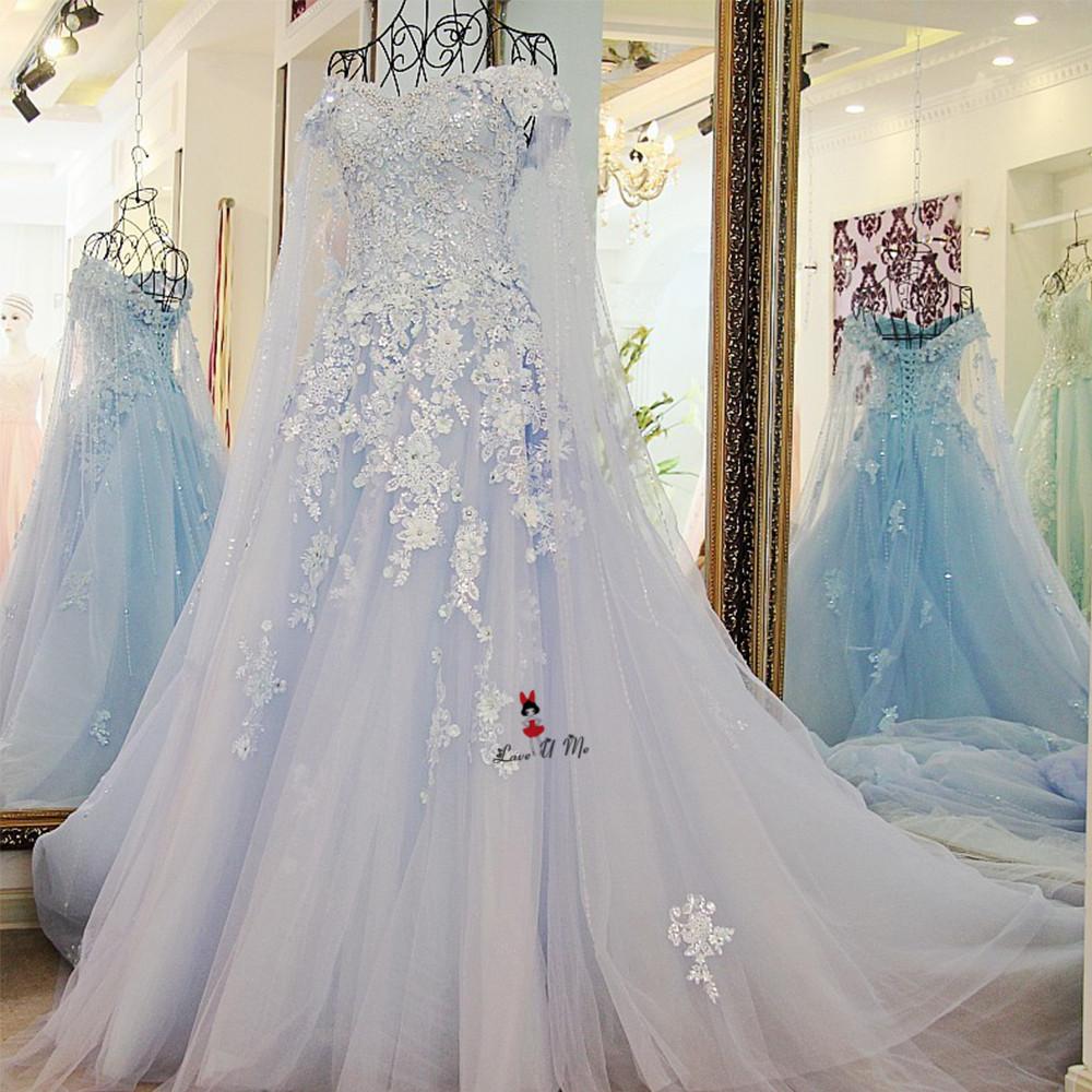 Vestido De Casamento Weiss Blau Vintage Hochzeit Kleid Mit Umhang