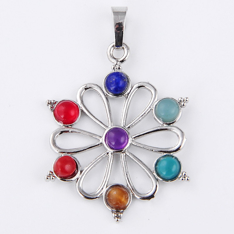 7 Resin Beads Reiki Chakra Healing Point Pendant For Necklace