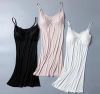 50% шелк 50% Вискоза вязать Полный скольжения с Pad пижамы сорочка регулируемый ремень SG329