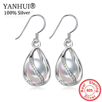YANHUI New Style 100% Natural Freshwater Pearl Drop Earrings 8 9mm Real Pearl 925 Solid Silver Zircon Jewelry for Women HE0110