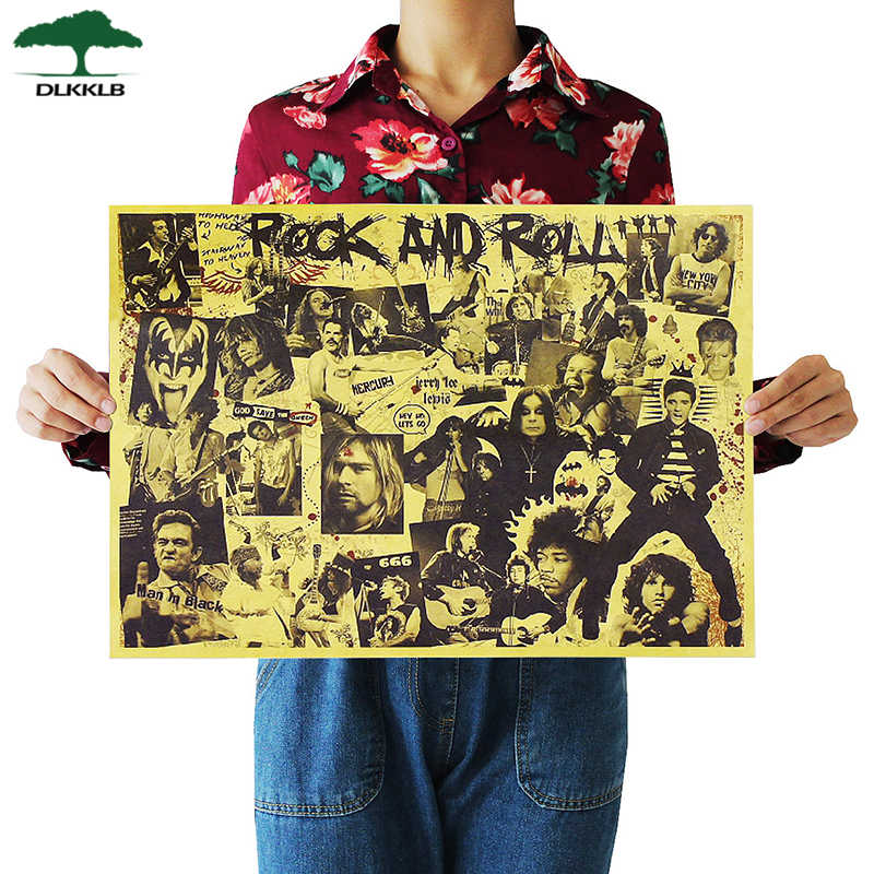 Dlkklb Nostalgische Rock Band Kraftpapier Muziek Cafe Bar Poster Retro Poster Decor Schilderen 51X36 Cm Rock Is niet Dode Muursticker