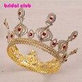 Precioso Chapado en Oro Rojo de Cristal Blanco Boda Desfile Quinceanera Tiara Crowns Nupcial Accesorios Para el Cabello de Lujo Completo Corona Grande