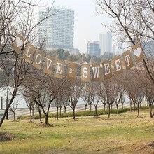 Винтаж Love Is Sweet Свадебные Баннер праздник девичник реквизит для фотосессии овсянка крафт-бумага Свадебные вывеска для декора вечерние украшения