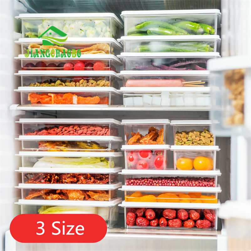 JiangChaoBo Home Plastic Transparent Food Storage Box Refrigerator Food Fruit Crisper Kitchen With Lid Sealed Storage Box