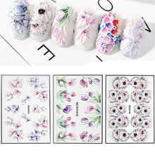 mybormula 1 Sheet 3D Engraved Flower Nail Sticker Embossed Acrylic Water Decals Slide 2019 New Arrivals