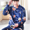 Pyjamas Men 2016 Fall Winter Thicken Flannel Mens Pajama Set O-Neck Coral Fleece Sleepwear Male Nightwear Homewear Pijama Hombre