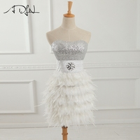 ADLN Strapless Sheath Feather Prom Dresses Beading Sequined Short Cocktail Dresses Little White Dress