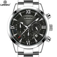 LIANDU Multiple Time Zone Men S Fashion Business Watch Chronograph Unique Engraved Dial Military Sport Watches