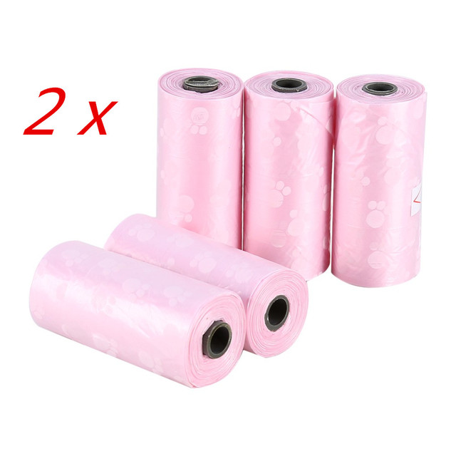 10 Rolls/150 Pcs Degradable Pet Dog Waste Poop Bag With Printing Doggy Bag Pet Waste Clean Poop Bags 4 colors 2