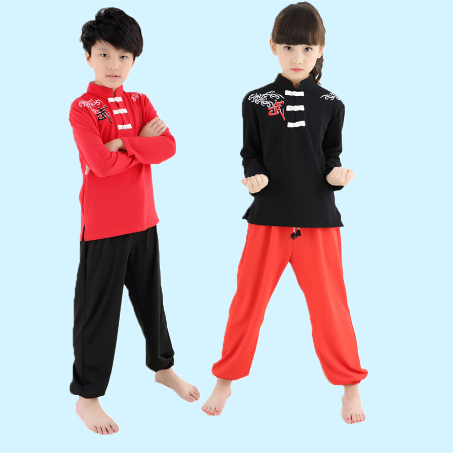 2018 New Top Quality Kids Long Sleeve Martial Art Suits Taichi Uniforms Practice Training Clothing For Girls Boys