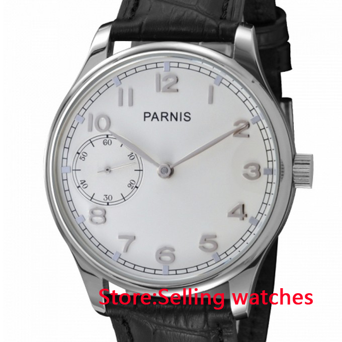 44mm Parnis Case White Dial Hand Wind 6497 Mechanical mens Watch 44mm black sterile dial green marks relojes 6497 mens mechanical hand winding watch luminous armbanduhr cm164bk