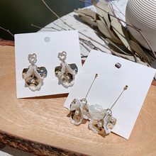 MENGJIQIAO New Korean Elegant Japan Fashion Shell Flower Drop Earrings For Women Heart Rhinestone Metal Wafer Pendientes Jewelry(China)