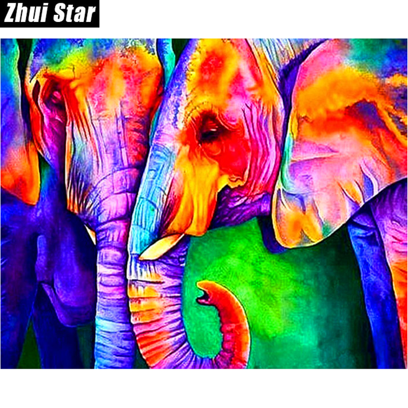 buy zhui star full square diamond 5d diy diamond painting color elephant 3d. Black Bedroom Furniture Sets. Home Design Ideas