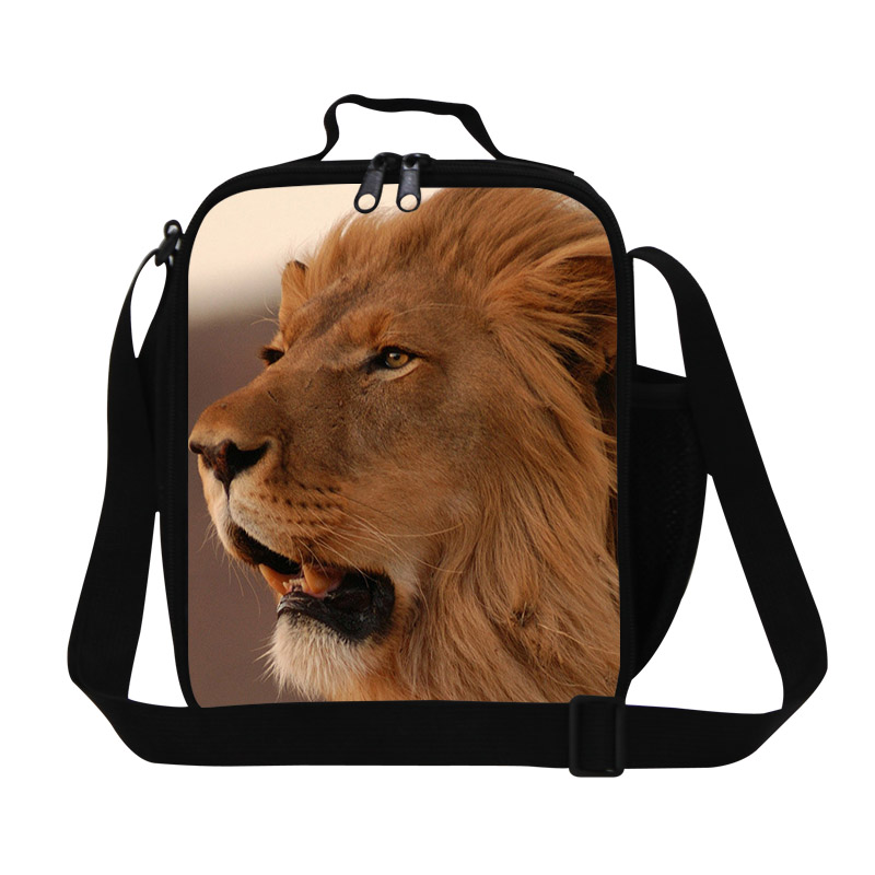 Animals Lion 3D Print Lunch Bags For Student Cool Lunch Box For Kids Boys Lancheira Termica Picnic Thermo Food Bag Free Shipping