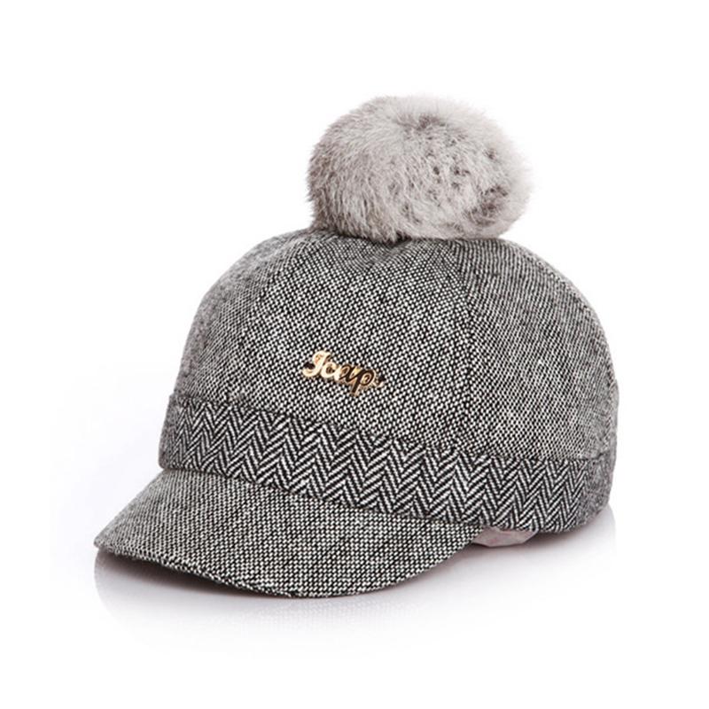 Kid's Fur-top Tweed Baseball Cap - Black