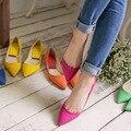 2017 nueva moda 35-41 zapatos de las mujeres del resorte libre del envío transpirable mujeres de los planos de cuero de LA PU del color del caramelo colorido suave alta calidad