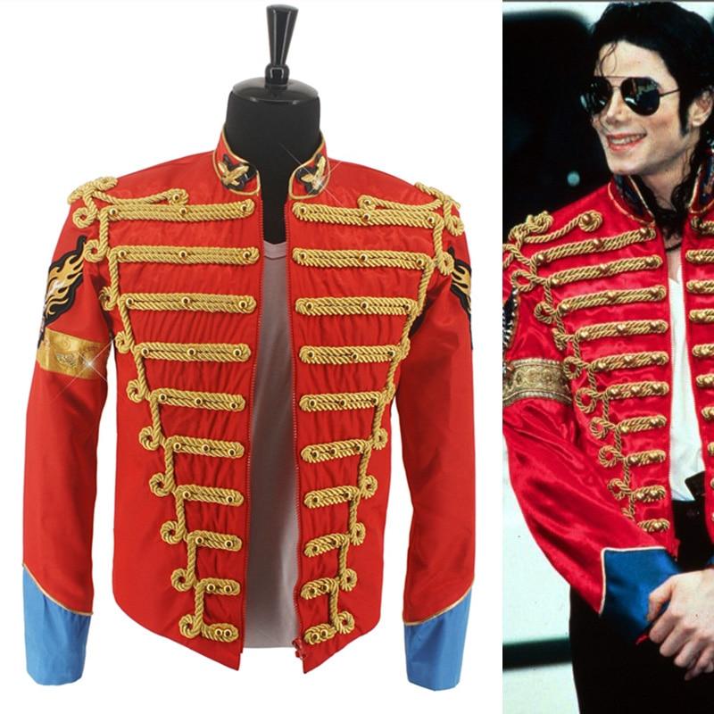 Rare MJ Michael Jackson Red Retro Inghilterra Giacca Militare Per Partito Prestazioni abito formale Nel 1985 s