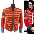 Rare MJ Michael Jackson Red Retro Inglaterra Jaqueta Militar Para O Desempenho Do Partido vestido formal Em 1985 s