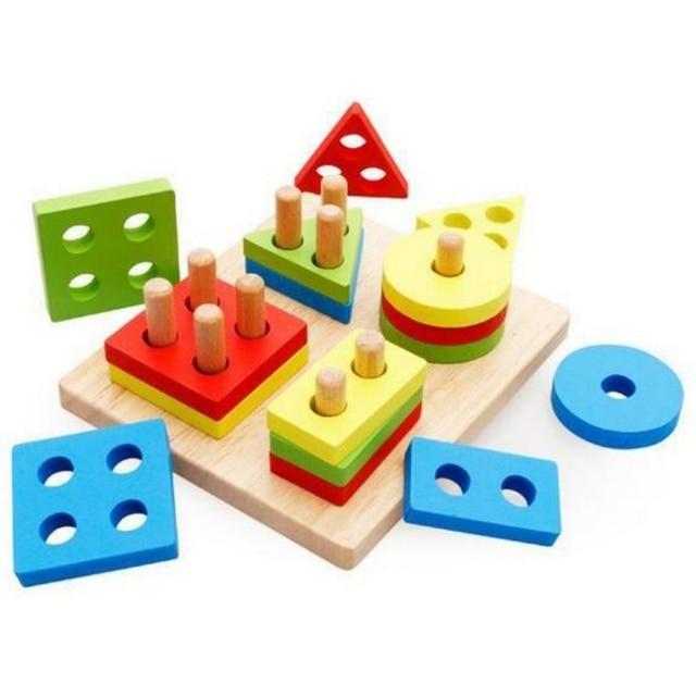 Baby Brain Development Toys Wooden Geometric Sorting Board