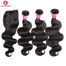 Aphro Hair Brazilian Body Wave 3 csomók bezárása Ingyenes rész Nem Remy Szövés Emberi hajcsomagok bezárásával 4X4 természetes szín
