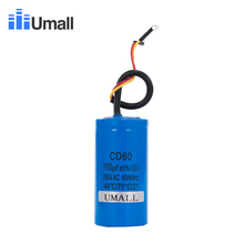 CD60 150UF 250V AC Starting Capacitor For Heavy Duty Electric Motor Air Compressor Red Yellow Two Wires