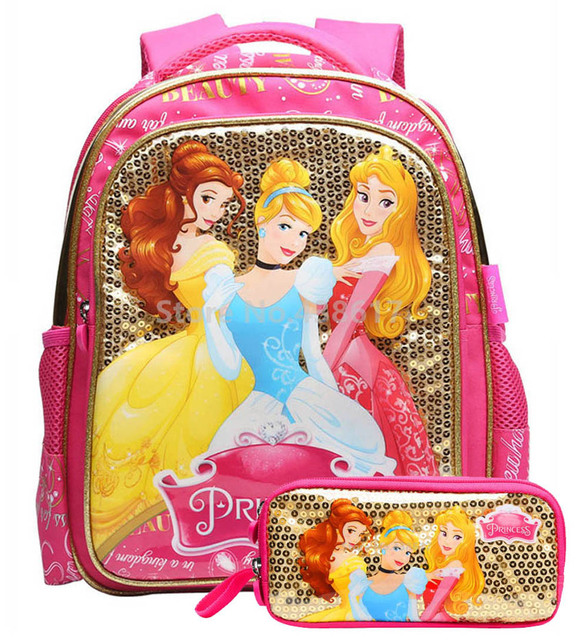 Fashion Cinderella Aurora Belle Princess Sequins Backpack School Bags With  Pencil Case Set for Girls Elementary 7ef23ea434d12