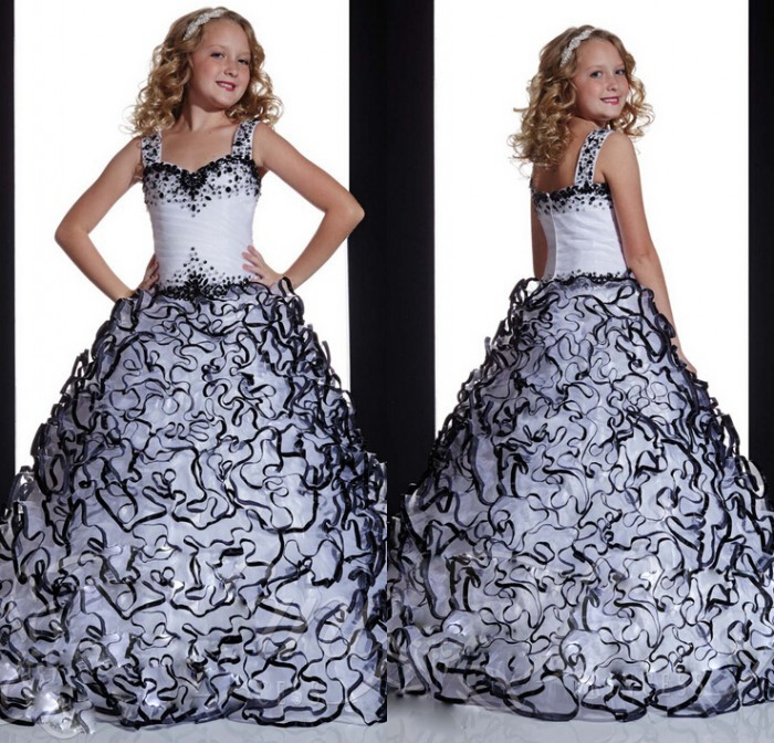 New Arrival Black White Ball Gown Sapghetti Straps Long Length Ruched Flouncing Tiered Crystals Party   Flower     Girl     Dresses
