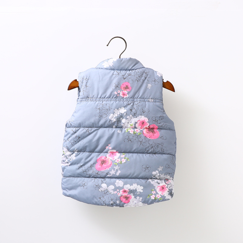 2016 Winter Girls Vest Thick Cotton Floral Vest For Girls Baby Girls Waistcoat For Kids Outerwear