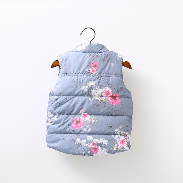 2016 Winter Girls Vest Thick Cotton Floral Vest For Girls Baby Girls Waistcoat For Kids Outerwear Children ClothingHW0015