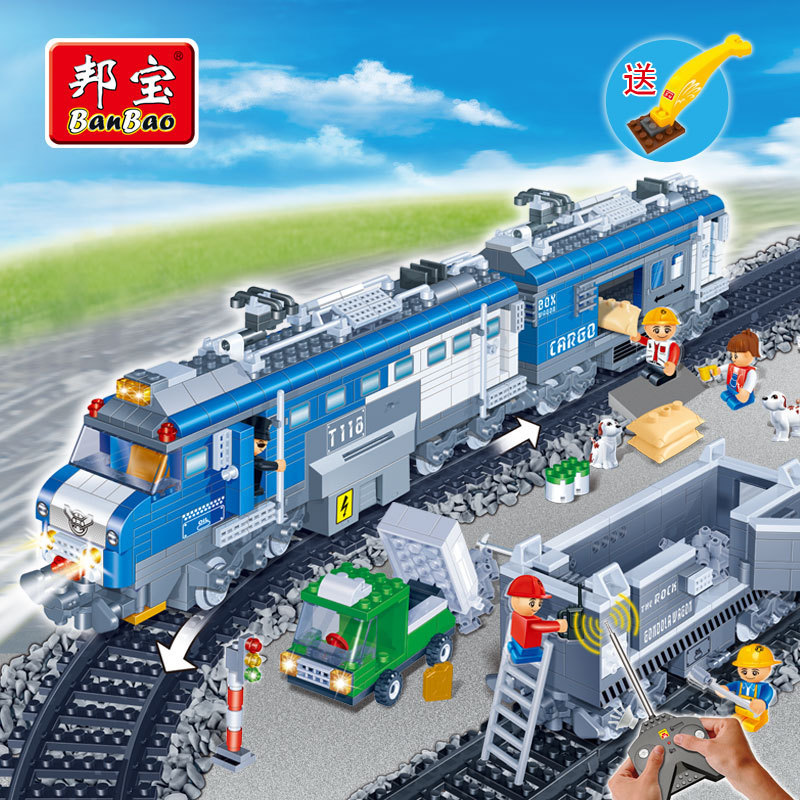 Banbao Model building kits compatible with lego city traffic Cargo Train 991 3D blocks Educational toys hobbies for children ausini model building kits compatible with lego city transportation train 1025 3d blocks educational toys hobbies for children