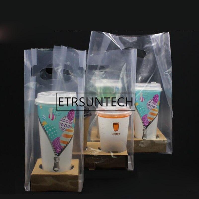 100 set 1/2/4 Tazze di Carta Kraft Supporto di Tazza di Caffè di Plastica Trasparente Sacchetto di Succo di Bevande di Caffè Latte tè Take away Imballaggio-in Stoviglie monouso per feste da Casa e giardino su  Gruppo 1