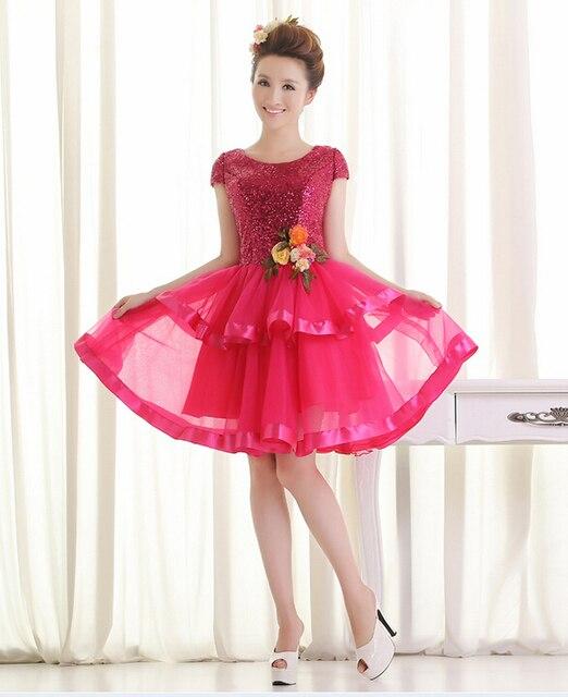 Tulle del cequi corto dulce 16 vestidos de manga corta en verde rosa ...
