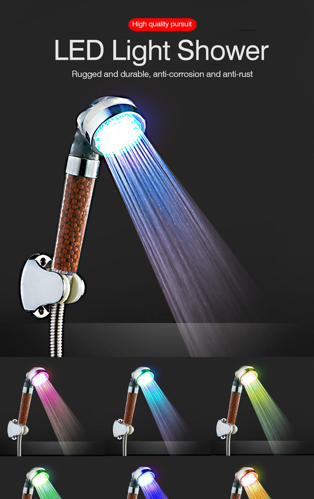 LED Shower Head Pressurized rain Shower head Colorful Led Water Saving High