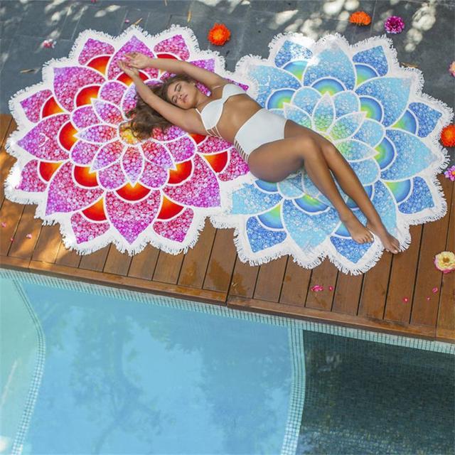 Drop Shipping New Arrival Indian Mandala Tapestry Lotus Mat Yoga Bohemian Flower Printed Shawl Tassel Sunblock Beach Bath Towel