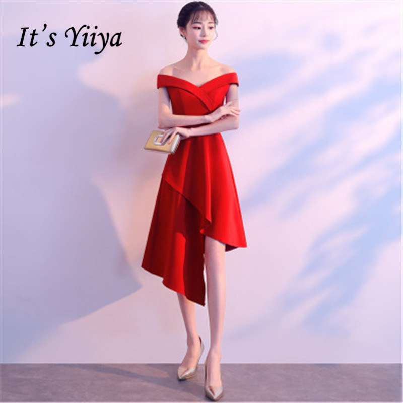 It's Yiiya 2018 Sale Sleeveless Strapless Off The Shoulder Asymmetrical   Cocktail     Dresses   Famous Designer Formal   Dress   MX050
