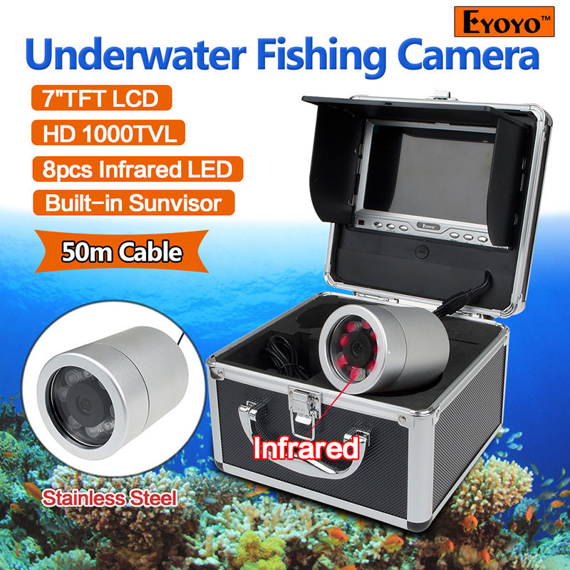 Free shipping!Eyoyo 50m IR Underwater Video Camera Fishing Fish Finder Color 7 LCD TFT Screen 2 4g wireless fish finder underwater fishing camera video free soft app 50m underwater breeding monitoring for fish searching