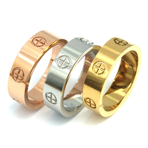 PZ Stainless Steel Top quality women men Jewelry love rings luxury wedding bijoux couple lovers rings