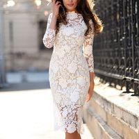 2017 Summer women lace dress casual sexy party dress women vintage bodycon crochet floral lace embroidery white dresses