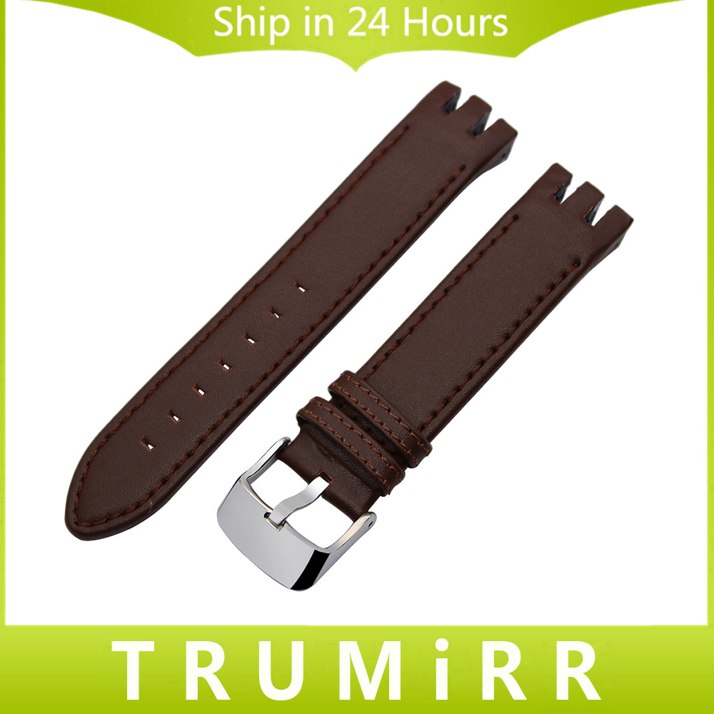 1st Layer Calf Genuine Leather Watchband 20mm for Swatch Watch Band Stainless Steel Buckle Strap Wrist Belt Bracelet Black Brown stylish 8 led blue light digit stainless steel bracelet wrist watch black 1 cr2016
