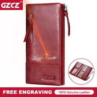 GZCZ Genuine Leather Women Wallet Female Purse Lady Walet Red Clutch Vallet ID Credit Card Holder Coin Money Bag Free Engrave