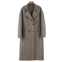 Высокое качество шерстяное пальто 2019 женский пиджак новый двухсторонний кашемир корейский елочкой Тонкий шерстяной Для женщин зимние паль