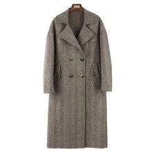 High Quality Woolen Coat 2019 Female Jacket New Double Sided Cashmere Korean Herringbone Pattern Slim Wool Womens Coats  Winter