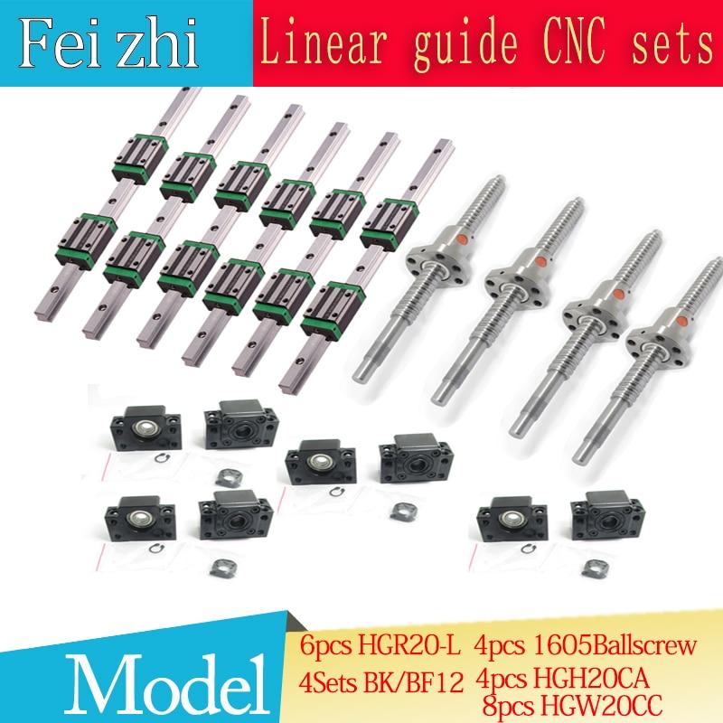 12 pcs Carré Linéaire guide HGR20-400-900-1150 + 3 pcs Vis À Billes SFU605-+ BK BF12 + jaw Accouplement Flexible Plum coupleur pour cnc