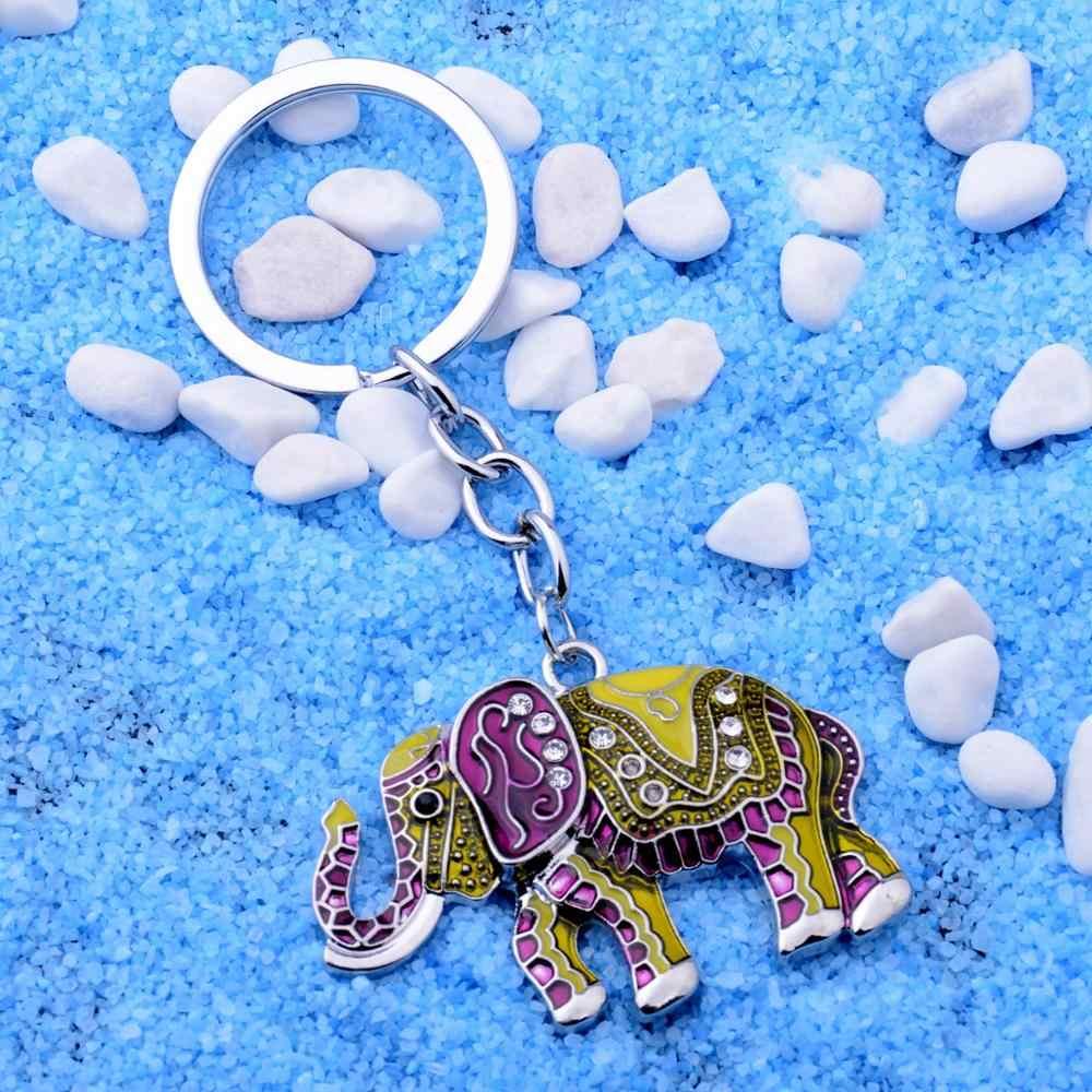 12 PC Atacado Esmalte Amarelo Elefante Chaveiro Strass Cristal Sorte Menina Das Mulheres da Carteira Bolsa Chaveiro Anel Chave do Presente Da Família BFF
