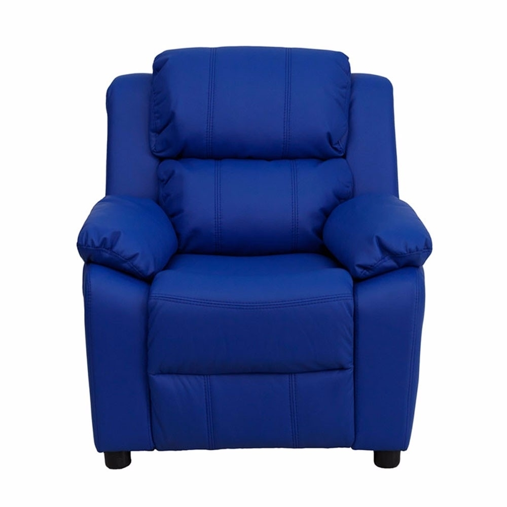 Flash Furniture Deluxe Heavily Padded Contemporary Blue Vinyl Kids Recliner with Storage Arms [863-BT-7985-KID-BLUE-GG]