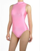 Free Shipping Plus Size Pink Mock Neck Spandex Womens Sleeveless Thong Leotards Gymnastics Unitard Dance Bodysuit